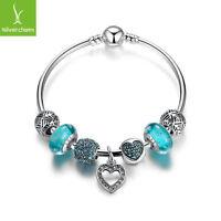 European 925 Silver Love Heart Dangle Charm DIY Bangles With Charm Bead Jewelry