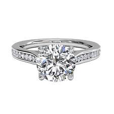 1.00 Ct Moissanite Diamond Solitaire Ring  14K White Gold Finish Size N H I J K