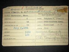 1910s INDIANS: Steve O'Neill, Handwritten Vintage Heilbroner 3x5, Dec'd!