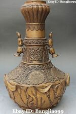 """13"""" Collection Marked Chinese Pure Bronze Lotus Root Flower Vase Bottle Statue"""