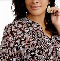 Terra&Sky Women's Plus Size 1X Button Front Top Floral Chiffon Tunic Black Multi