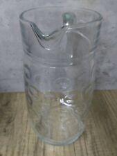 "Vintage Clear Glass Circle Dot Pressed Pitcher 1.5 Quart Heavy 9.25"" EXCELLENT"