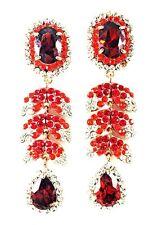 USA EARRING fashion Swarovski ELM Crystal RED Dangle Gold Plated Pear Long leaf