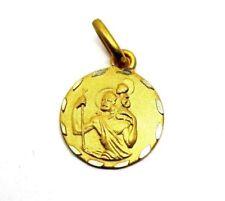 9ct Yellow Gold Satin Finish 10mm Saint Christopher Pendant                 3698