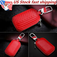 US Car Key Chain Bag Leather Smart Key Holder Cover Remote Fob Zipper Case RED