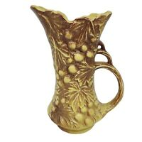 Vintage McCoy Pottery Grape Cluster Pitcher Vase Leaves Yellow Brown Circa 1950s