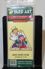 YARD ART Do It Yourself Pattern Kids with Star Outside Wood Christmas Decoration