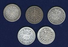 GERMANY EMPIRE  1 MARK SILVER COINS: 1874-?, 1876-G, 1880-A, 1881-D, 1893-A,...