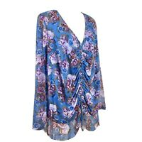 SIZE 2X INC Blue Floral Chiffon Overlay Ruched Blouse Top Shirt Women's Plus NWT