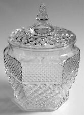 WEXFORD COOKIE JAR CANISTER PRESSED GLASS HEXAGONAL CRYSTAL Anchor Hocking