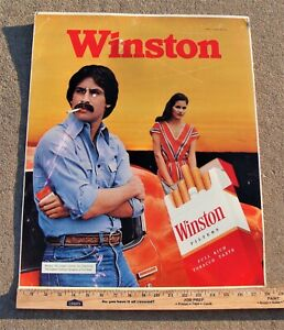 Original VINTAGE WINSTON CIGARETTE ADVERTISING TIN SIGN 1980 REYNOLDS TOBACCO
