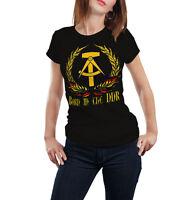 Born in the DDR Frauen T-Shirt Fun Shirt Zone Mauer Sprüche Stasi Wessi Ossi Ost