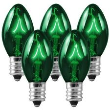 25 - C7 Green Transparent Replacement Christmas Bulbs Party Holiday Wedding