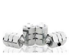 White Crystal Anti-Theft Chrome Tire Air Valve Cap-CC