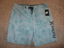 """NWT NEW Hurley Blue Flower Spray Palms BS Length 20"""" Board Shorts Swimsuit 34"""