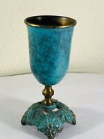 Kiddush Cup Marked Israel Brass & Turquoise with Patina Fancy Footed Grape Base