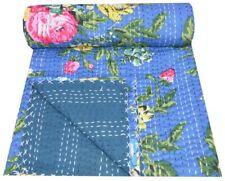 Vintage Floral Print Kantha Quilt Twin Handmade Cotton Blue Blanket Throw Quilt