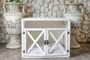 LYNX with doors, Indoor Wood Dog House, White Modern Crate, Luxury Pet Furniture