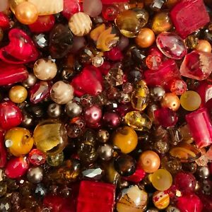 Large Mixed Glass Bead Packs 150g - Red Brown and Gold Mix