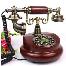 Wooden Retro Vintage Style Telephone Corded Push Button Dial Home Desk Phone