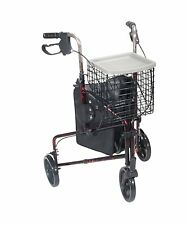 Drive Medical Deluxe 3 Three Wheel Aluminum Rollator Walker 10289RD