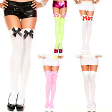Bow Contrasting Back Seam Backseam Thigh High Stocking Bow Top Pantyhose OS US