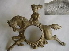 19C. ANTIQUE METAL CLOCK FRAME WOMAN RIDING HORSE