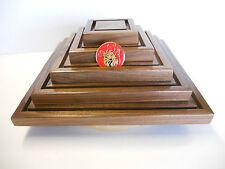 Military Challenge Coin Display Rack Holder, Solid Walnut Hardwood, Rotates