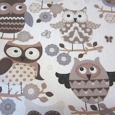 Stoff Meterware Baumwolle Eule Eulen braun beige grau schwarz Uhu Frankreich