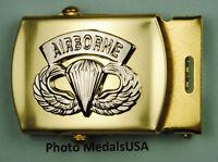 Army AIRBORNE PARATROOPER black Web Belt &  brass buckle USA B746SI