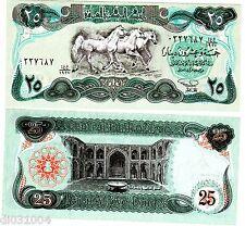 IRAQ Irak Bilet 25 Dinars 1990 P75 3 CHEVAUX NEUF UNC