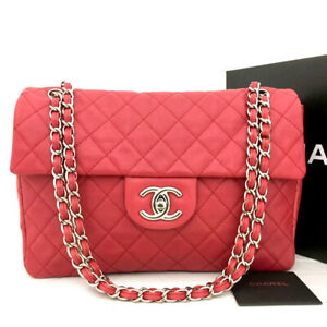 CHANEL Jumbo 32 Quilted Matelasse Lambskin Silver Chain Shoulder Bag /71139