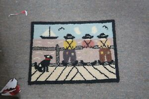 """Chetticamp Nova Scotia Wool Hand Hooked Primitive Rug Tapestry 8"""" x 12"""" Picture"""
