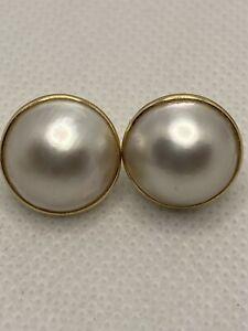 FINE 14k Gold Mabe Blister Pearl Earring BUTTERFLY BACKINGS .