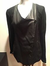 $495 NEW PURE DKNY LEATHER LINEN BLACK LONG SLEEVE BLAZER JACKET CARDIGAN SIZE S