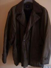 Chaquetón abrigo Hombre talla XXL marrón oscuro forro negro, símil piel. Oferta