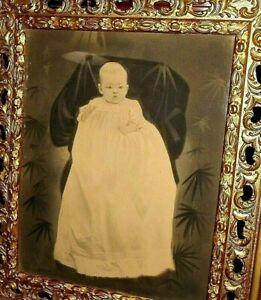 """ANTIQUE BABY CHARCOAL PORTRAIT (16"""" x 20"""") & FRAME (27"""" x 31"""") - POST MORTEM?"""