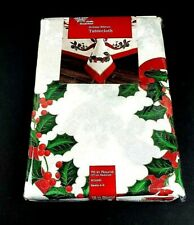 "New Winter Wonderland Holiday Ribbon Fabric Tablecloth Size 70"" Round Seats 4-6"