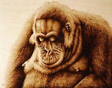 "ORIGINAL PYROGRAPHY/WOODBURNING ANIMAL ART: MONKEY/ORANGUTAN ""THE PHILOSOPHER"""