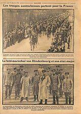 Soldiers Australia Army/Feld-Marshal Paul von Hindenburg & headquarter WWI 1914