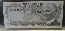 Turkey Bes Lirasi (Five 5 Lira) 1976 (P185) K- Serial - UNC