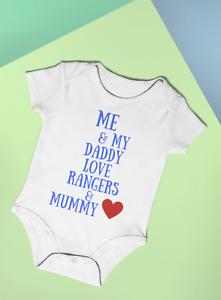 FOOTBALL ME & MY DADDY LOVE RANGERS & MUMMY FUN BABY BODYSUIT VEST 100% COTTON