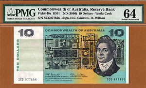 Australia $10 Coombs/Wilson ND (1966) Pick-40a Ch UNC PMG 64