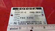 77 corolla 1.6 engine label specs  1975 -1979 2T-C 1600cc