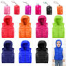 Kids Boys Girls 90% Duck Down Puffer Vest Sleeveless Hooded Jacket Outwear Coat
