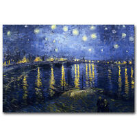 Starry Night Over The Rhone Van Gogh Poster Abstract Print 12x18 32x48 inches