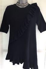 NEW NEXT 14 Ladies Navy Frill A Symmetric Short Sleeve Longline Tunic Jumper Top