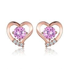 Love Heart Shape Pink Swarovski Crystal Rose Gold Filled Lovely Stud Earrings