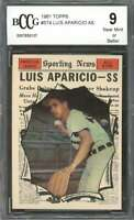 1961 topps #574 LUIS APARICIO AS chicago white sox BGS BCCG 9