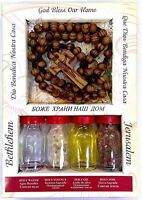 Holy Set 4 Elements, Holy Water, Oil,Incense,Jerusalem Soil, Wood Rosary Gift
